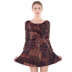 Fractal 3d Render Futuristic Long Sleeve Velvet Skater Dress