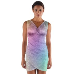 Rainbow Colorful Grid Wrap Front Bodycon Dress