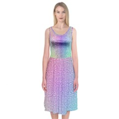 Rainbow Colorful Grid Midi Sleeveless Dress