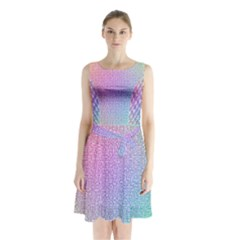 Rainbow Colorful Grid Sleeveless Chiffon Waist Tie Dress
