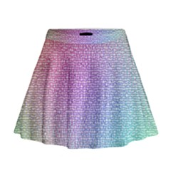 Rainbow Colorful Grid Mini Flare Skirt