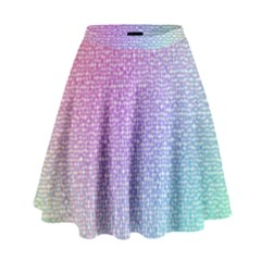 Rainbow Colorful Grid High Waist Skirt