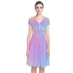 Rainbow Colorful Grid Short Sleeve Front Wrap Dress