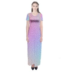 Rainbow Colorful Grid Short Sleeve Maxi Dress