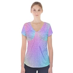 Rainbow Colorful Grid Short Sleeve Front Detail Top