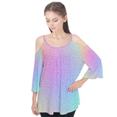 Rainbow Colorful Grid Flutter Tees