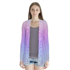 Rainbow Colorful Grid Drape Collar Cardigan