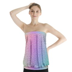 Rainbow Colorful Grid Strapless Top