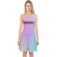 Rainbow Colorful Grid Capsleeve Midi Dress