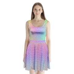 Rainbow Colorful Grid Split Back Mini Dress