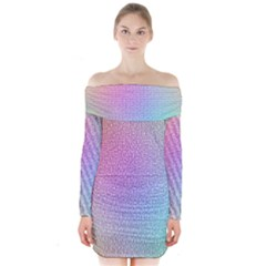 Rainbow Colorful Grid Long Sleeve Off Shoulder Dress