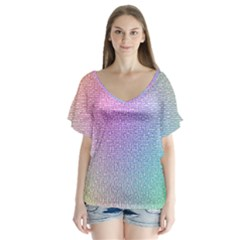 Rainbow Colorful Grid Flutter Sleeve Top
