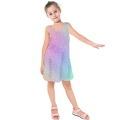 Rainbow Colorful Grid Kids  Sleeveless Dress