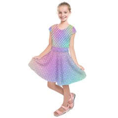 Rainbow Colorful Grid Kids  Short Sleeve Dress