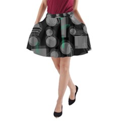Come down - green A-Line Pocket Skirt