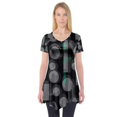 Come down - green Short Sleeve Tunic