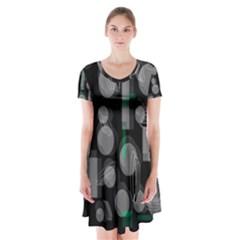Come Down   Green Short Sleeve V Neck Flare Dress