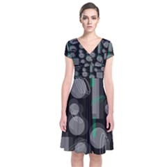 Come down - green Short Sleeve Front Wrap Dress