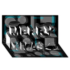 Come down - blue Merry Xmas 3D Greeting Card (8x4)