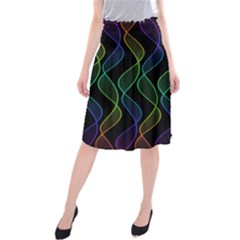 Rainbow Helix Black Midi Beach Skirt