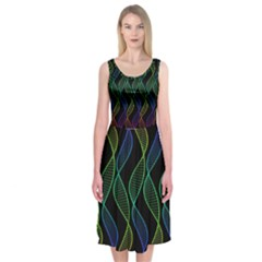 Rainbow Helix Black Midi Sleeveless Dress