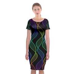 Rainbow Helix Black Classic Short Sleeve Midi Dress
