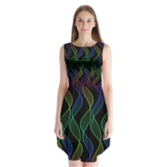 Rainbow Helix Black Sleeveless Chiffon Dress