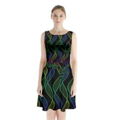 Rainbow Helix Black Sleeveless Chiffon Waist Tie Dress
