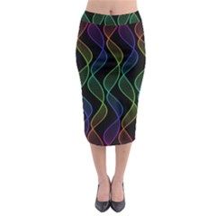 Rainbow Helix Black Midi Pencil Skirt