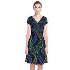 Rainbow Helix Black Short Sleeve Front Wrap Dress