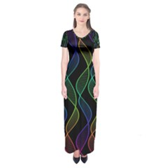 Rainbow Helix Black Short Sleeve Maxi Dress