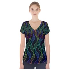 Rainbow Helix Black Short Sleeve Front Detail Top