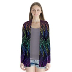 Rainbow Helix Black Drape Collar Cardigan