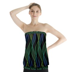 Rainbow Helix Black Strapless Top