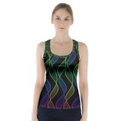 Rainbow Helix Black Racer Back Sports Top