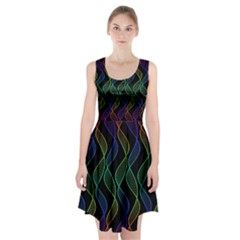 Rainbow Helix Black Racerback Midi Dress