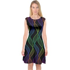 Rainbow Helix Black Capsleeve Midi Dress