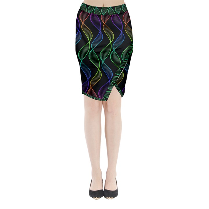 Rainbow Helix Black Midi Wrap Pencil Skirt