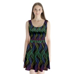 Rainbow Helix Black Split Back Mini Dress