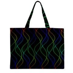 Rainbow Helix Black Medium Zipper Tote Bag