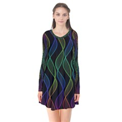 Rainbow Helix Black Flare Dress