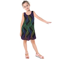 Rainbow Helix Black Kids  Sleeveless Dress