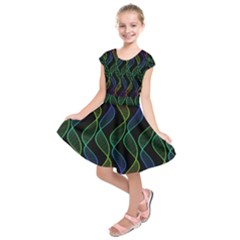 Rainbow Helix Black Kids  Short Sleeve Dress