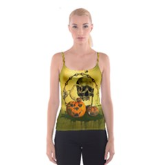 Halloween, Funny Pumpkins And Skull With Spider Spaghetti Strap Top