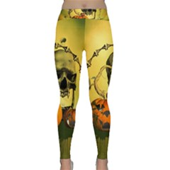 Halloween, Funny Pumpkins And Skull With Spider Classic Yoga Leggings