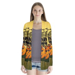 Halloween, Funny Pumpkins And Skull With Spider Drape Collar Cardigan