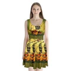 Halloween, Funny Pumpkins And Skull With Spider Split Back Mini Dress
