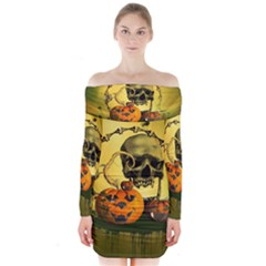 Halloween, Funny Pumpkins And Skull With Spider Long Sleeve Off Shoulder Dress