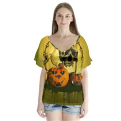 Halloween, Funny Pumpkins And Skull With Spider Flutter Sleeve Top