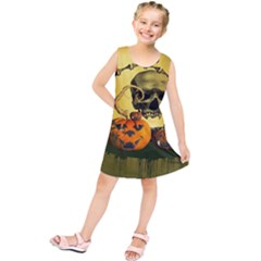 Halloween, Funny Pumpkins And Skull With Spider Kids  Tunic Dress